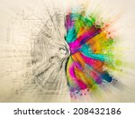 brain sketchy doodles about the ... | Shutterstock . vector #208432186