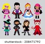 happy halloween. funny little... | Shutterstock .eps vector #208471792