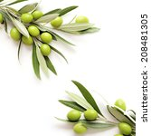 green olives on white... | Shutterstock . vector #208481305