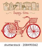 stylish hand drawn city bike... | Shutterstock .eps vector #208490362
