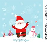 merry christmas card with santa ... | Shutterstock .eps vector #208503472