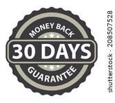 30 days money back guarantee on ... | Shutterstock . vector #208507528