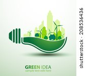 ecology idea green bulb with... | Shutterstock .eps vector #208536436