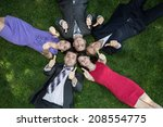 lunch break. five enthusiastic... | Shutterstock . vector #208554775