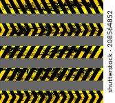 set of grunge yellow caution...   Shutterstock .eps vector #208564852