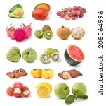 collection of fruits isolated... | Shutterstock . vector #208564996