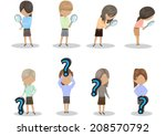 people with question mark sign... | Shutterstock .eps vector #208570792