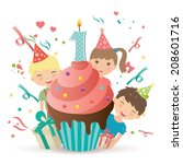happy first birthday candle and ... | Shutterstock .eps vector #208601716