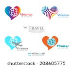 travel business icon set vector ... | Shutterstock .eps vector #208605775