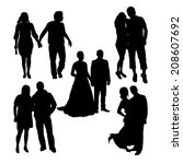 romantic couples silhouettes | Shutterstock .eps vector #208607692