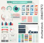 set of flat website elements.... | Shutterstock .eps vector #208607872