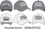 baseball cap  front  back and... | Shutterstock .eps vector #208625932