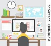 graphic designer working with... | Shutterstock .eps vector #208639102
