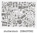 doodle media background | Shutterstock .eps vector #208639582