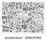 doodle media background | Shutterstock .eps vector #208639582