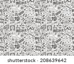 seamless doodle media pattern | Shutterstock .eps vector #208639642