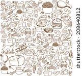 vector illustration of food in... | Shutterstock .eps vector #208640812