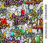 graffiti spray paint street art ... | Shutterstock .eps vector #208666888