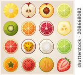 set of fruit halves. slices of... | Shutterstock .eps vector #208668082