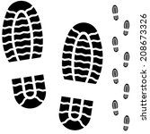 black and white boot prints... | Shutterstock .eps vector #208673326