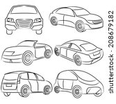sketch car set | Shutterstock .eps vector #208679182