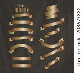retro copper ribbon banners... | Shutterstock .eps vector #208679332