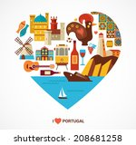 portugal love   heart with... | Shutterstock .eps vector #208681258
