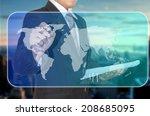 businessman touch digital... | Shutterstock . vector #208685095