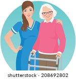 an elderly woman with a walker... | Shutterstock .eps vector #208692802