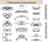vector set vintage calligraphic ... | Shutterstock .eps vector #208696852