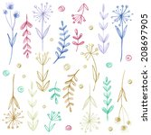 set of flowers  garland.... | Shutterstock . vector #208697905