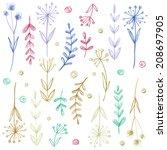 set of flowers  garland.... | Shutterstock . vector #208697905