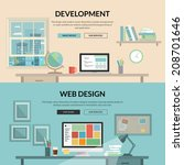 Set of flat design concept for web development. Programmer or coder workflow for website coding and html programming of web application, modern designer workplace showing design on desktop computer.