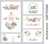elegant cards with floral... | Shutterstock .eps vector #208742068