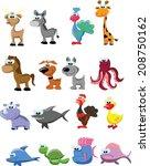 set of cute cartoon animals    Shutterstock .eps vector #208750162