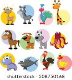 set of cute cartoon animals  | Shutterstock .eps vector #208750168