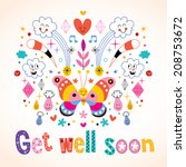 get well soon greeting card | Shutterstock .eps vector #208753672