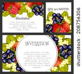 set of invitations with floral... | Shutterstock .eps vector #208756306