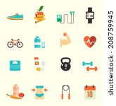 fitness and health icons with... | Shutterstock .eps vector #208759945