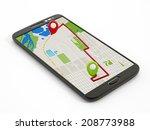 navigation map on smartphone...   Shutterstock . vector #208773988