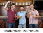 friends cheering. three happy... | Shutterstock . vector #208785028