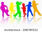 children silhouettes | Shutterstock .eps vector #208789222