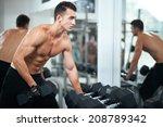 man doing exercises dumbbell...   Shutterstock . vector #208789342