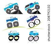 vector offroad car monster... | Shutterstock .eps vector #208792132