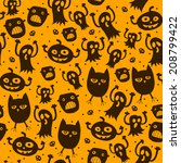 halloween orange background.... | Shutterstock .eps vector #208799422