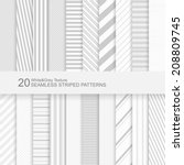 20 seamless striped vector... | Shutterstock .eps vector #208809745