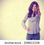 happy girl offering a beer | Shutterstock . vector #208812238