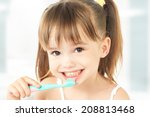 dental hygiene. happy little... | Shutterstock . vector #208813468