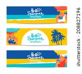 set of summer banners with... | Shutterstock .eps vector #208827196