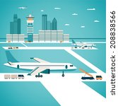 vector airport concept with... | Shutterstock .eps vector #208838566